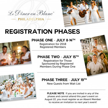 Registration Phases for Le Dîner en Blanc - Philadelphia 2019