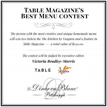 Table Magazine's Best Menu Contest