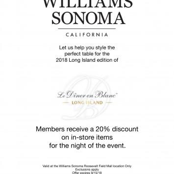 Williams Sonoma Roosevelt Field & Diner en Blanc Long Island