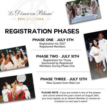 Registration phases for Le Dîner en Blanc - Philadelphia 18