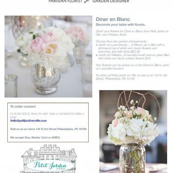 Petit Jardin en Ville Flower Offer- Order Ahead and pick-up at DEB!