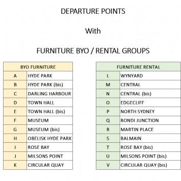 DEPARTURE POINTS + FURNITURE BYO / RENTAL GROUPS